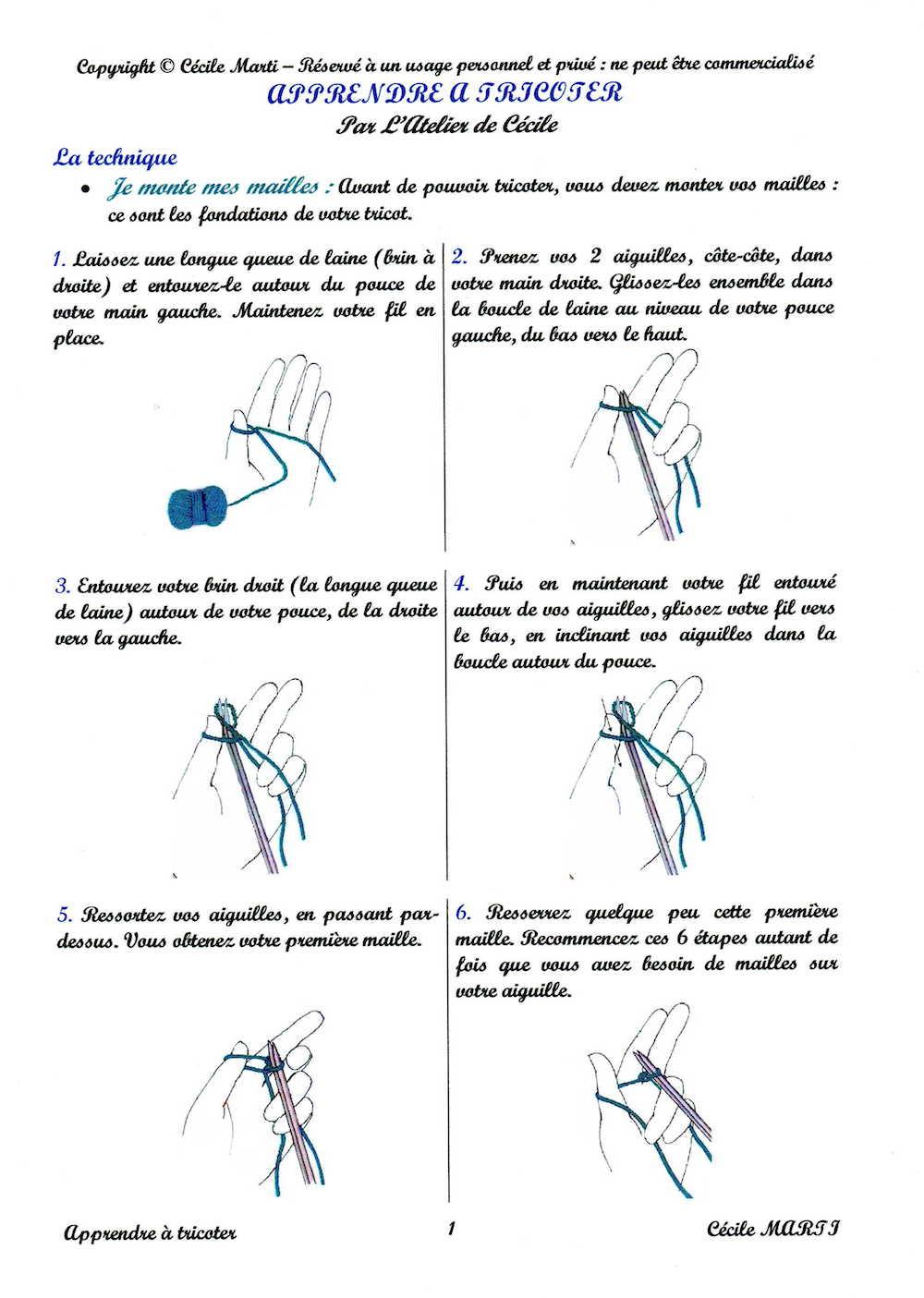 Apprendre à tricoter en images